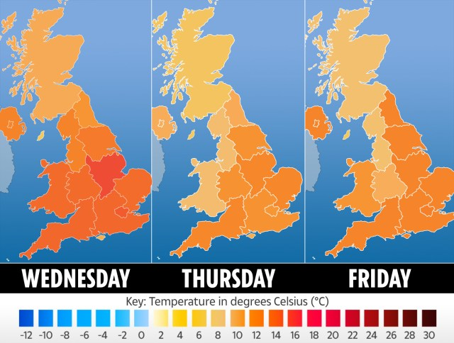 The temperatures expected for the next few days