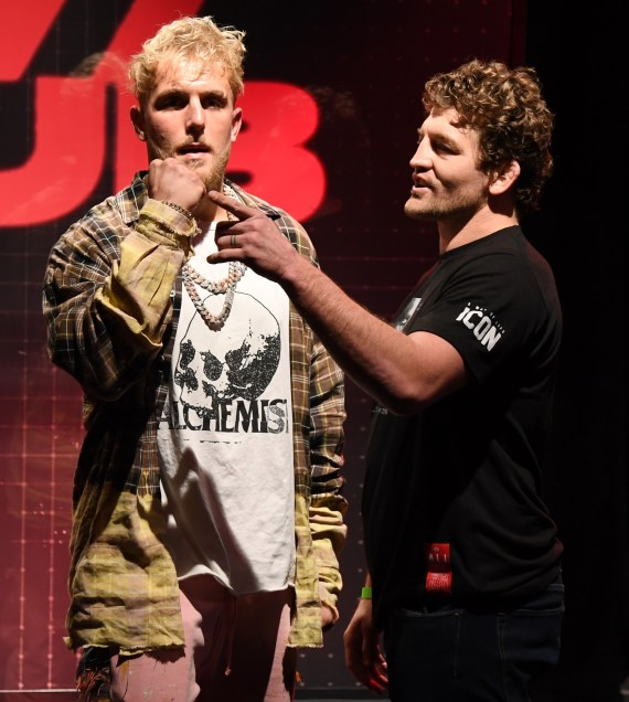 Jake Paul continued to taunt Ben Askren as the two men came face-to-face on Friday