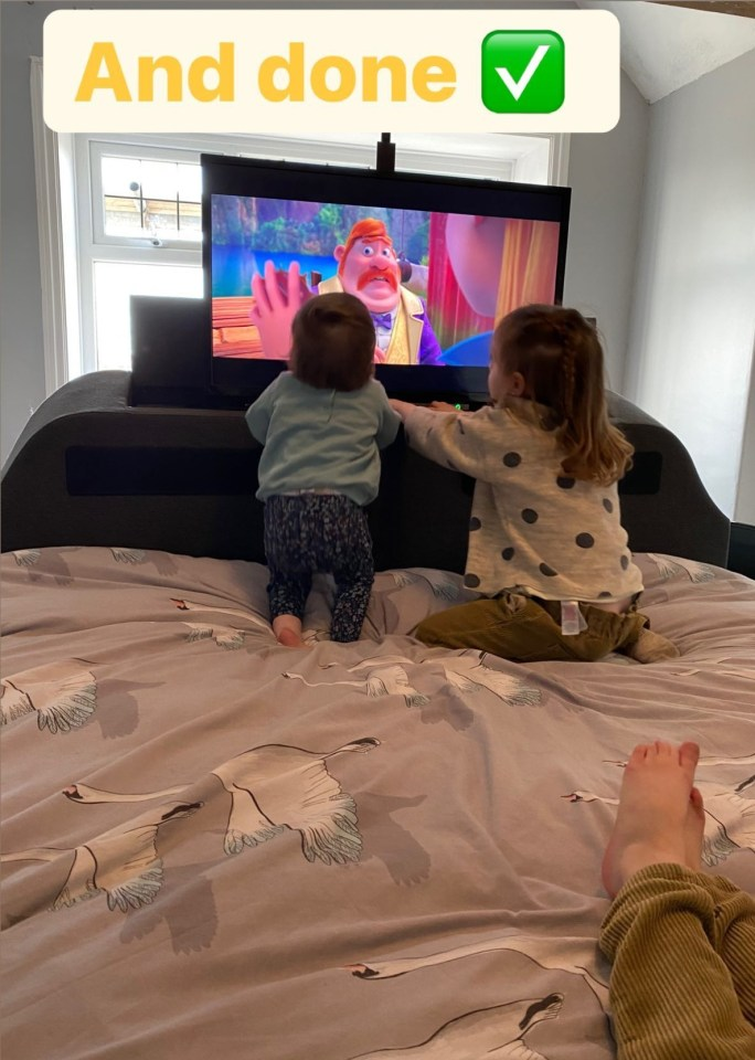 Sue Radford has showcased her swanky new bed with a built-in TV