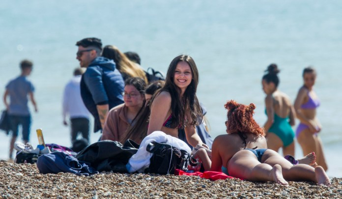 Brits flocked to beaches over the UK yesterday, making the most of the heat