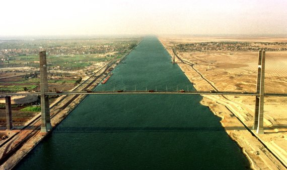 The Suez Canal is an artificial sea-level waterway in Egypt, connecting the Mediterranean Sea to the Red Sea