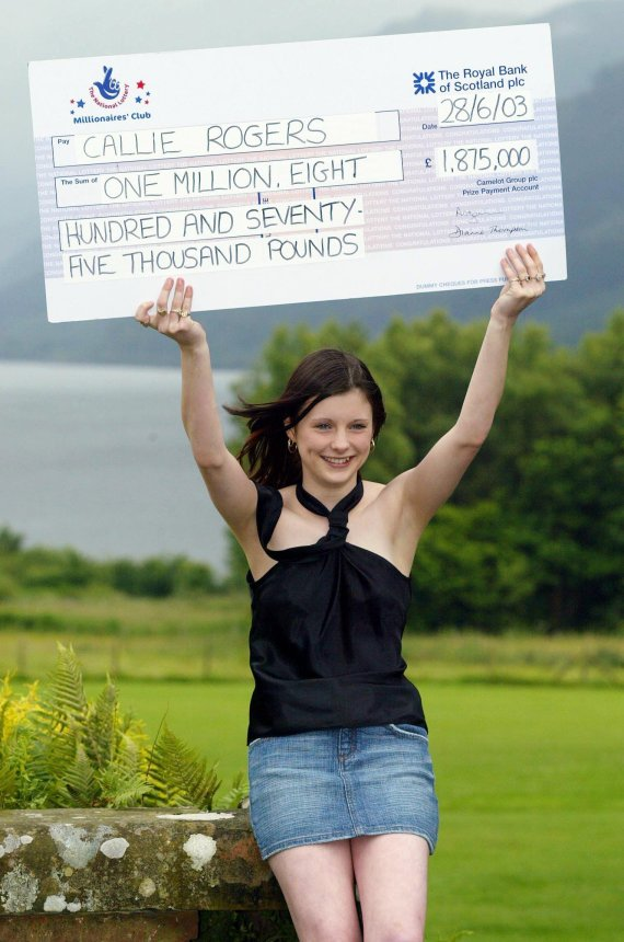 Callie Rogers was just 16 when she won over £1.8m in 2003
