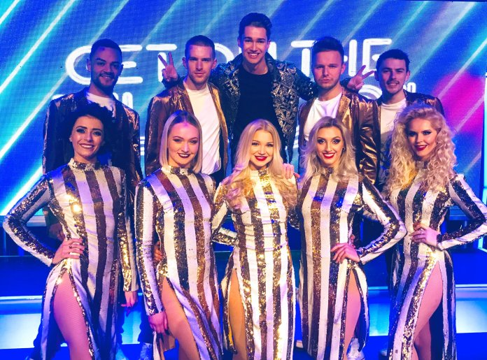 The couple met when Abbie (center) auditioned for AJ's Get On The Floor Live tour