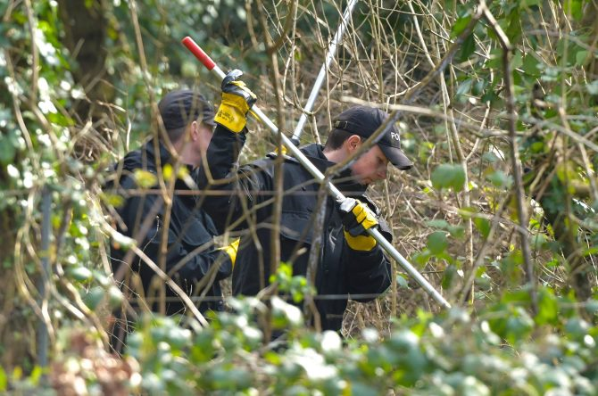 Police in woodland last year after a newborn baby was found dead