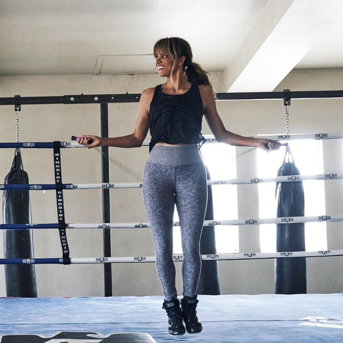 Halle is no stranger to working out