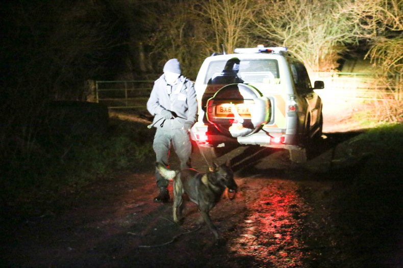 Police dogs were driven down to Kent, as police continued their search