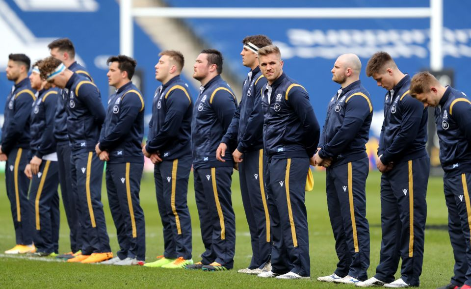 Scotland line up for the national anthem