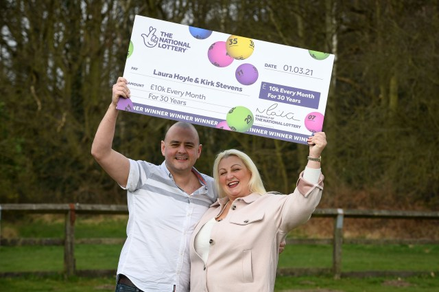 Laura Hoyle and Kirk Stevens won the Set for Life lotto