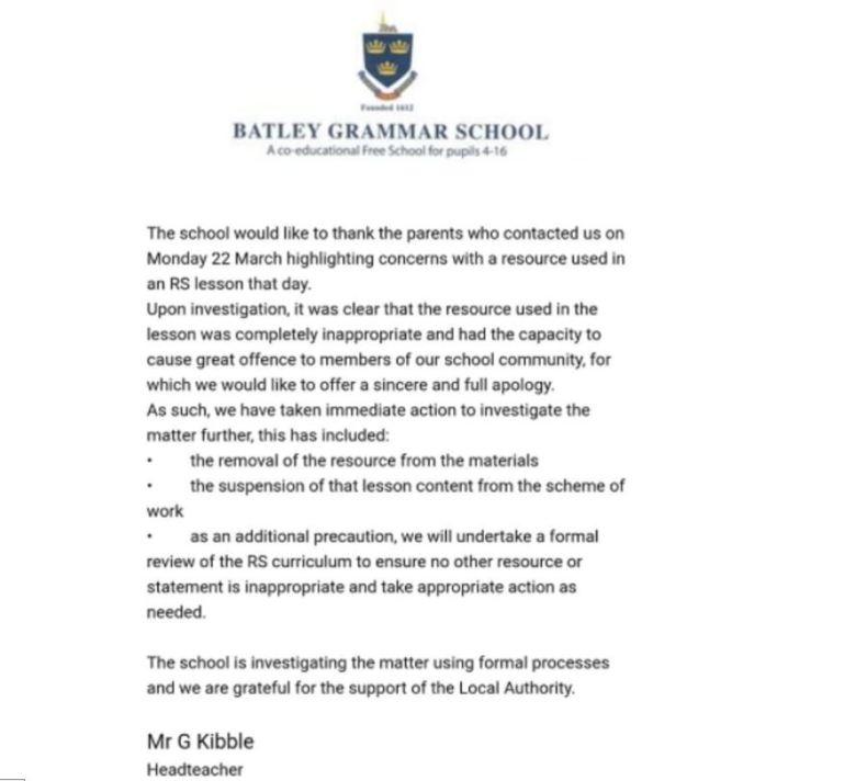 Batley Grammar School headteacher Gary Kibble wrote a letter to parents