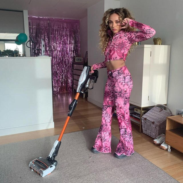 Jade Thirlwall shared a photo of her glamourously tackling some household chores