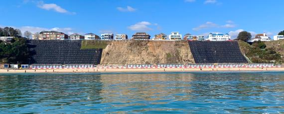 The works viewed from the water at Canford Cliffs