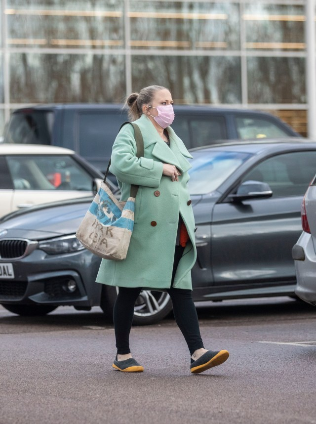 Kellie showed off her growing baby bump as she was spotted for the first time