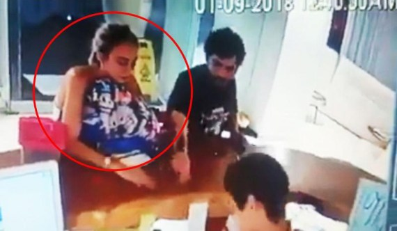 The 23-year-old was seen on security cameras at the hotel's reception with Villanueva before she died