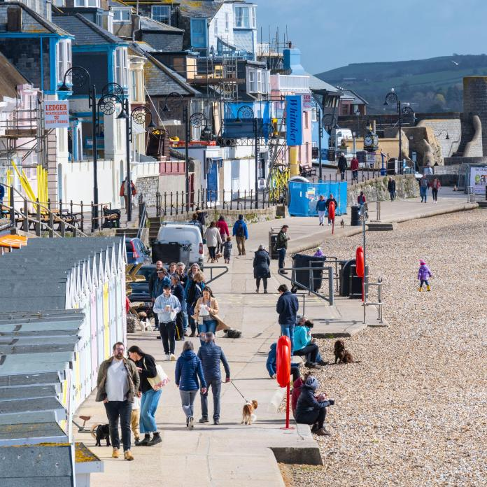 After a chilly start there were plenty of warm sunny spells at the seaside resort of Lyme Regis, Dorset today