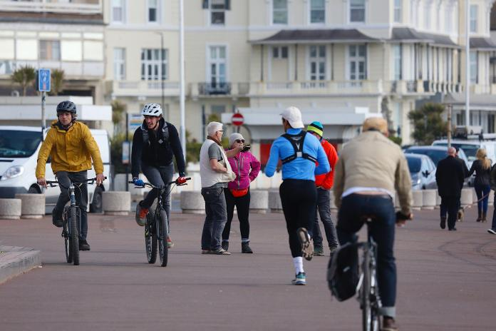 Brits were seen out exercising this morning in Hastings, East Sussex