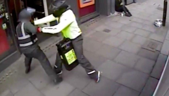 A criminal steals a money box carrying more than £20,000 outside a supermarket in London