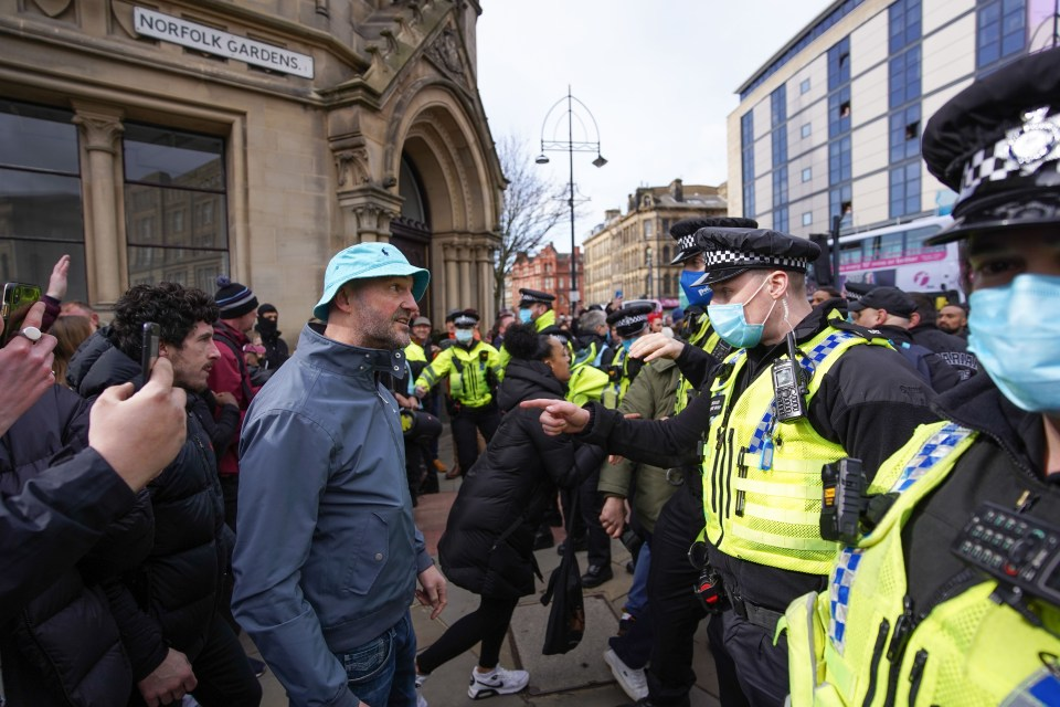 Cops clashed with protesters in heated scenes