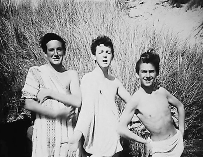 Paul McCartney (centre) with George Harrison (right) and a pal on a visit to Harlech