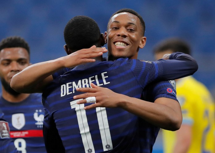Anthony Martial set up Ousmane Dembele for France but later came off injured