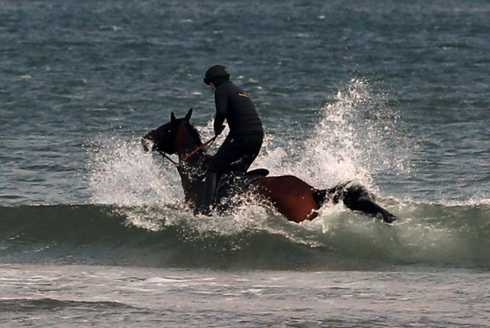 One man rode his horse along Bamburgh beach, Northumberland