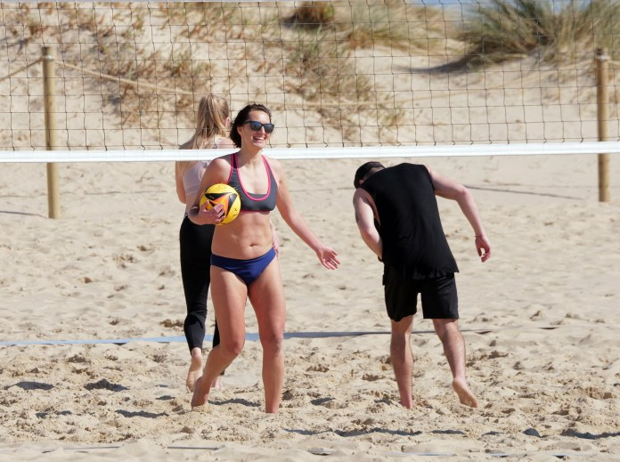 People made the most of the weather on sunny Sandbanks Beach in Dorset