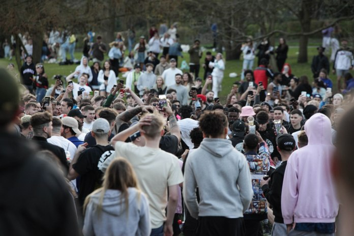 The young people were seemingly breaking the Rule of Six - which came into force on March 29
