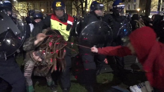 Protesters also clashed with police on Tuesday night