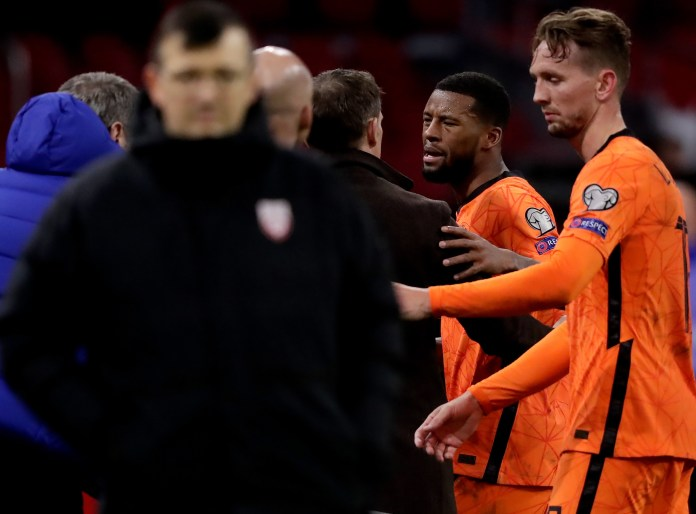 Georginio Wijnaldum had a heated row with Holland boss Frank De Boer