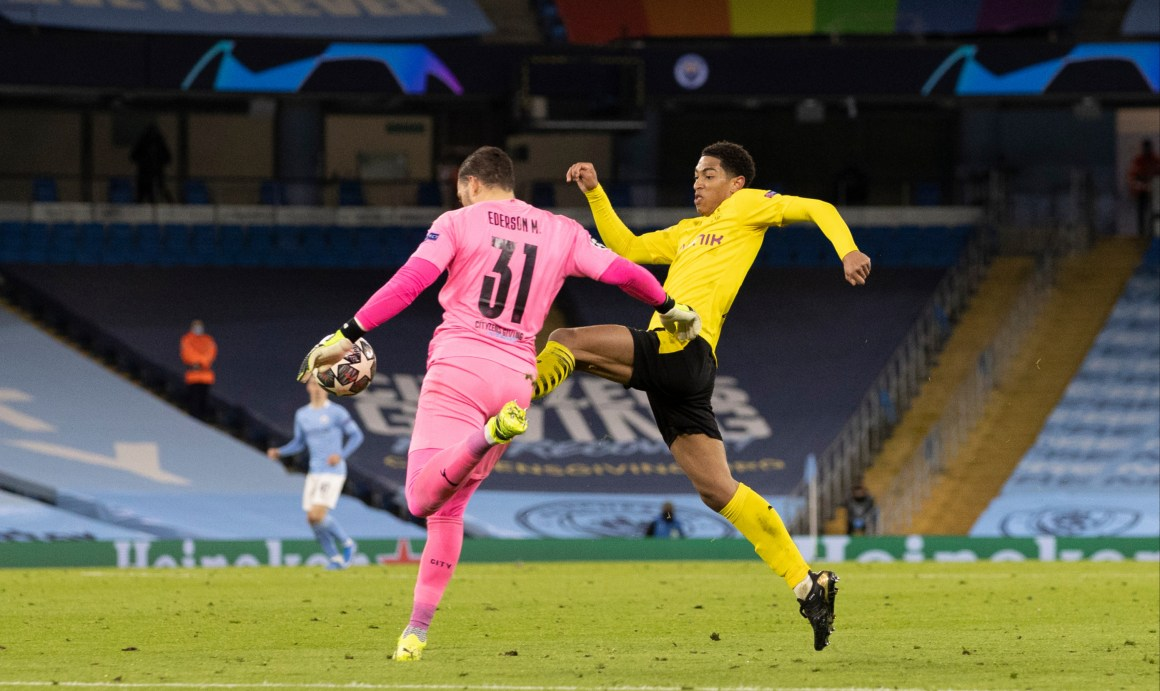 Watch Dortmund star Jude Bellingham robbed of goal in Man City defeat for  'foul' on Ederson as Jadon Sancho slams ref