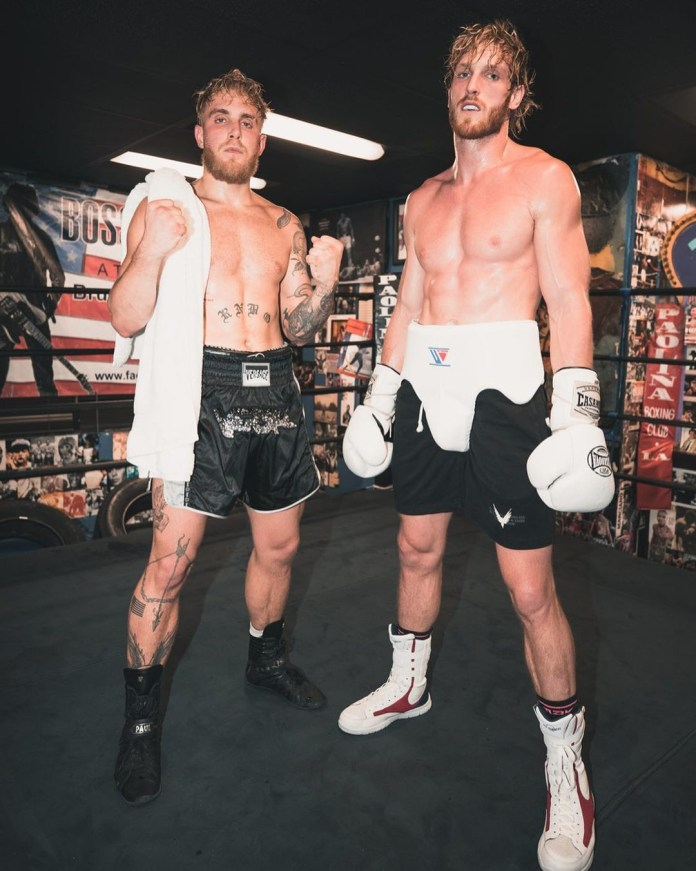Jake Paul, left, pictured with older brother Logan
