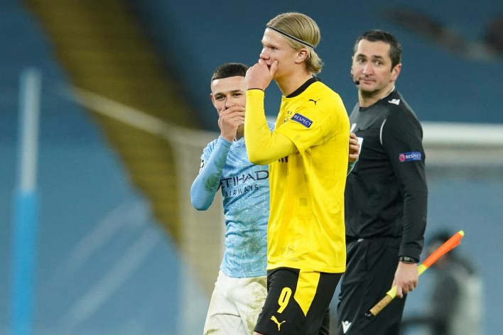 Halland and Phil Foden had a friendly chat at full-time