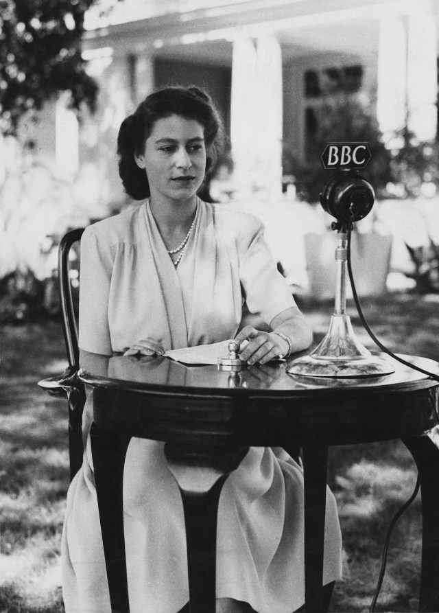 Elizabeth on her 21st birthday in Cape Town, making the broadcast in which she pledged a lifetime of service