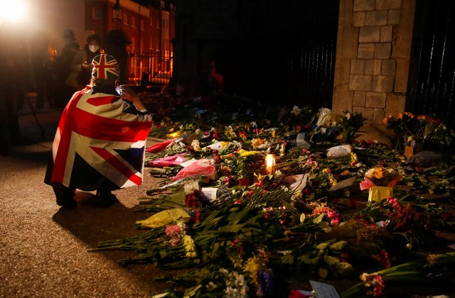 Mourners paying their respects this evening