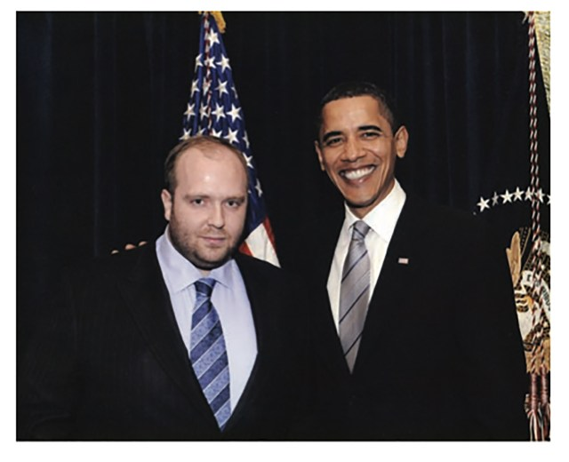 The shoot was organised by Vitaliy Grechin, left, pictured here with Barack Obama