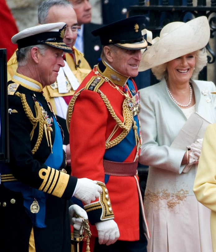 The Duke of Edinburgh pictured with Prince Charles and Camilla in 2011
