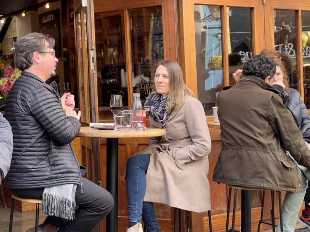 Pals enjoying drinks in Borough Market, London