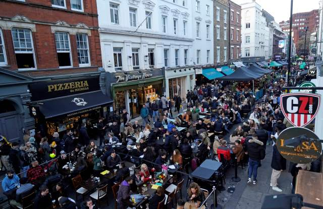 Soho was packed with revellers tonight
