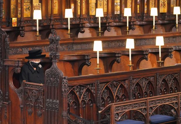 The Queen Elizabeth sat alone in St George's Chapel at Windsor during Philip's funeral