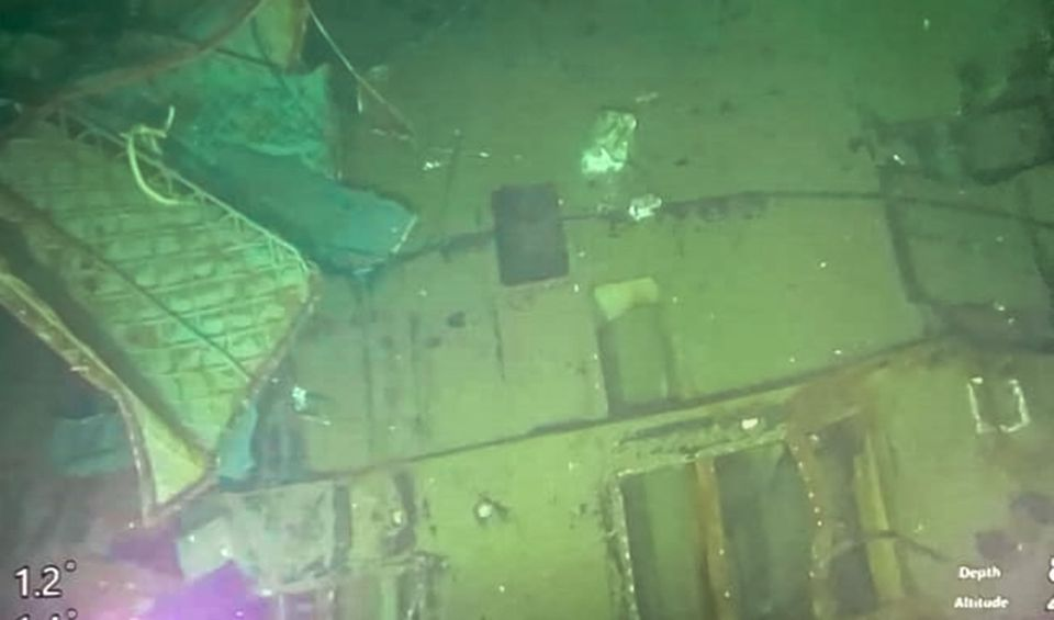 Underwater photo released by the Indonesian Navy shows parts of the sunken sub