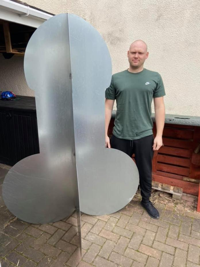 Luke Cullis was left red-faced when his best friend pranked him on his 30th birthday by ordering a handmade seven-foot steel penis and having it delivered to his front door
