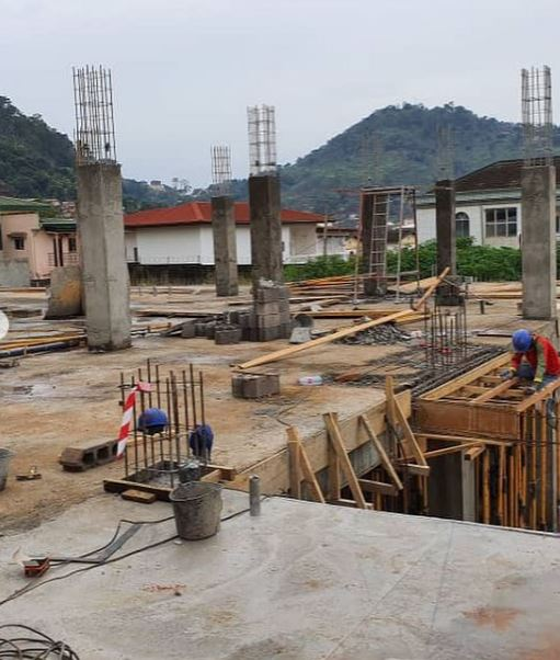 The Cameroon international also shared a snap of the construction work underway