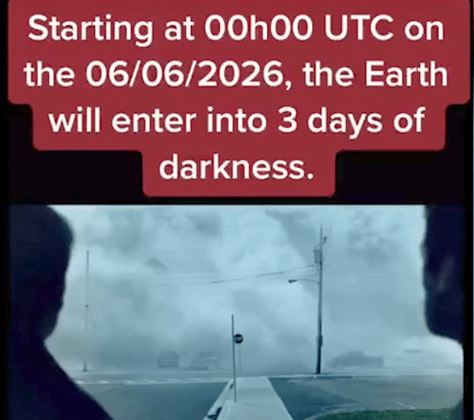 The time-traveller bizarrely claimed the Earth would be plunged into darkness