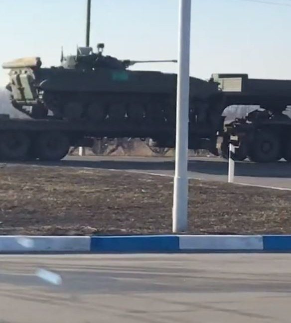 Russian tanks and other armour has been filmed heading for the border