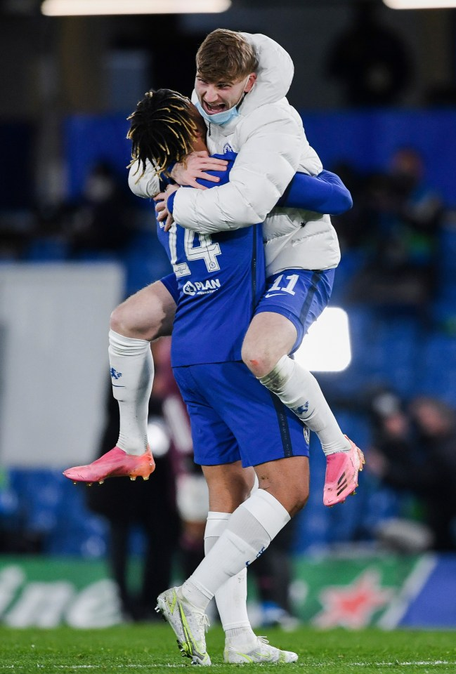 Timo Werner gets a lift from late sub Reece James as Chelsea celebrate earning a Champions League final with Man City