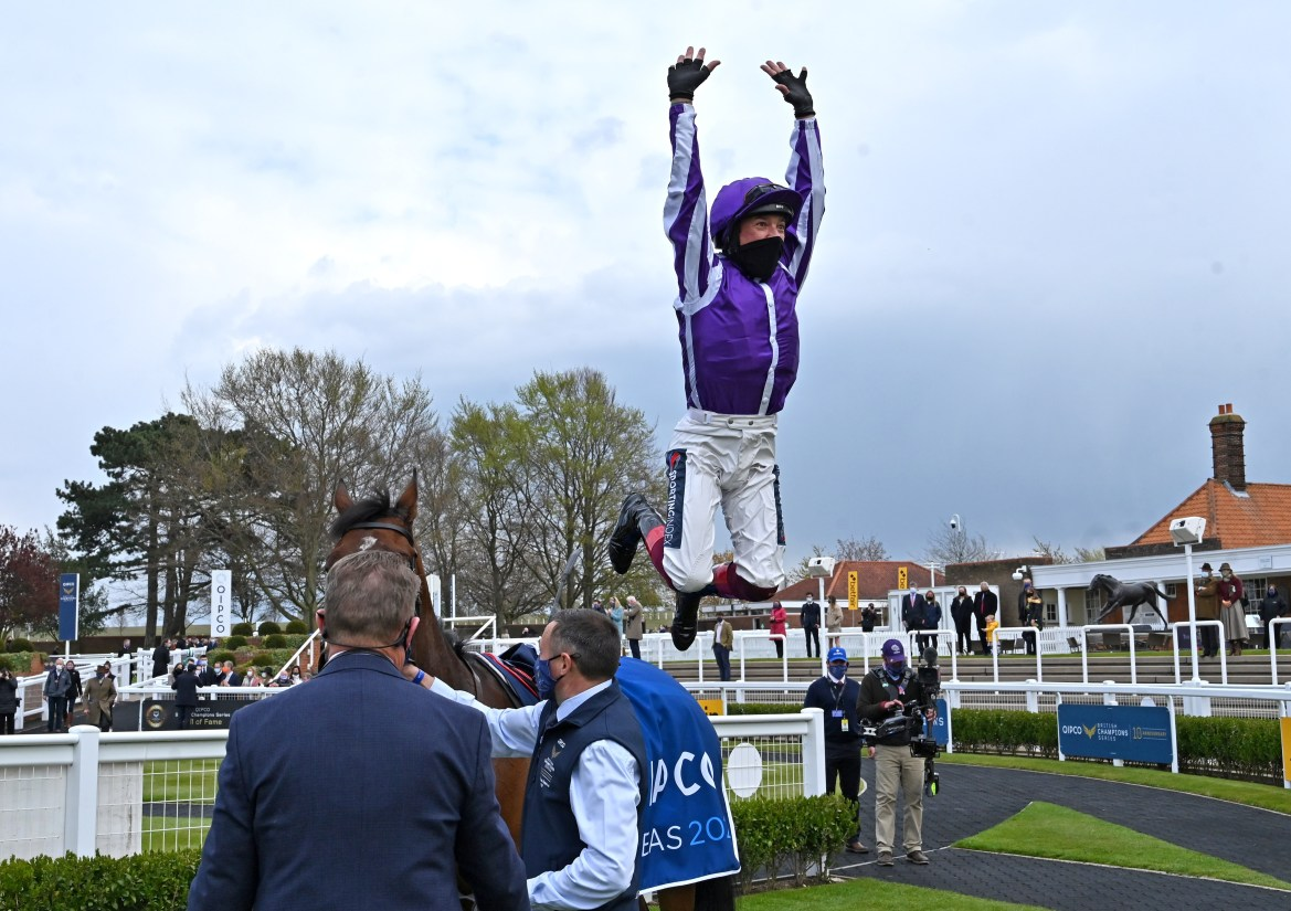 Still flying at 50, Dettori does his trademark flying dismount off Mother Earth