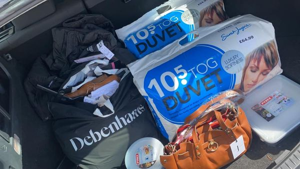The shopper managed to fill her car boot fool of goodies which should have cost over almost £1,000