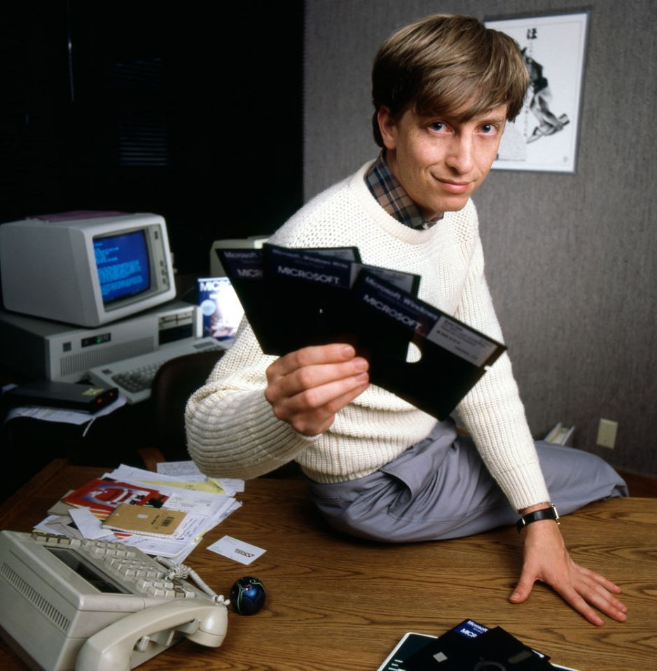 Bill pictured while in charge of Microsoft in the 1980s