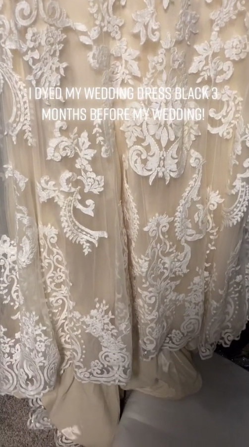 Originally, she had grabbed a traditional white lace dress for her big day