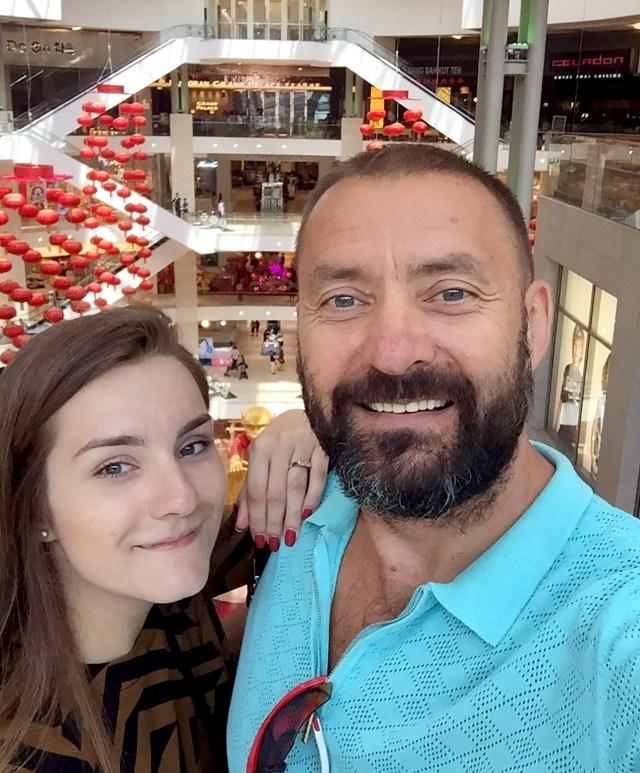 Sofia pictured with her dad Andrey Sapega