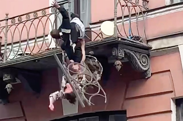 A passerby caught the incident on camera